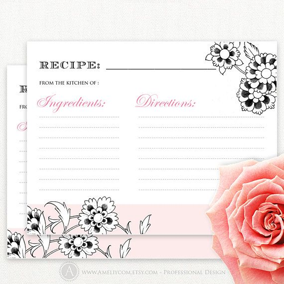 card recipes cards 4x6 by ameliycom 1 50 recipe card vintage pink