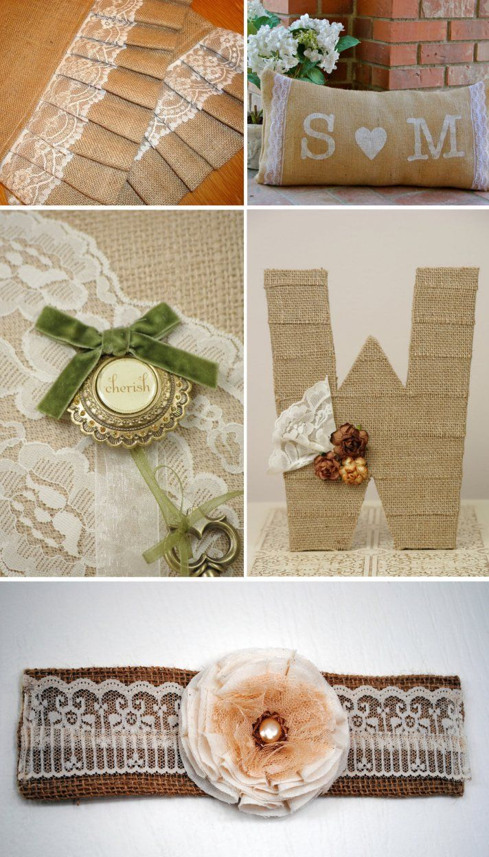 59 best images about Rustic Wedding Accents  Burlap Lace Wood Twine on Pinterest  Wedding