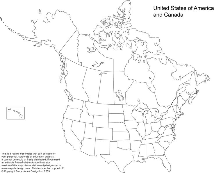 US and Canada Printable, Blank Maps, Royalty Free • Clip