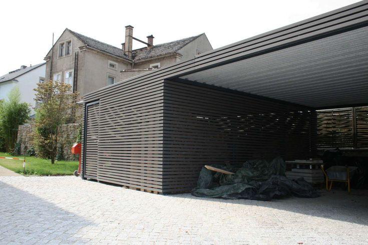 design metall carport aus holz stahl blech mit abstellraum, Moderne