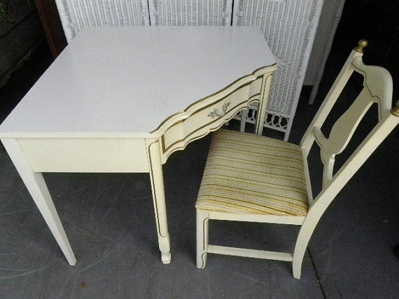Vintage Dixie French Provincial Corner Desk and by