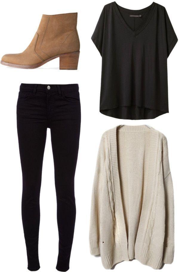 Black skinny jeans, black t shirt, tan booties, tan sweater