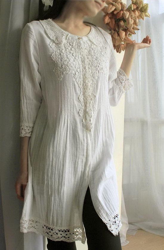 white, Collared Long tunic Shirt with lace and embroidered detail - so pretty!