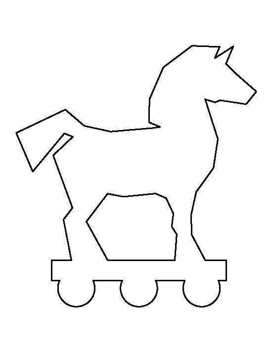 Trojan horse pattern. Use the printable outline for crafts