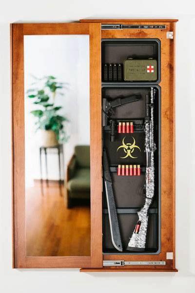 Hidden Gun Cabinet Mirror  WoodWorking Projects  Plans