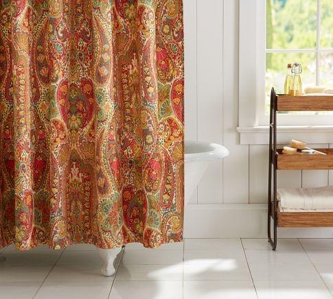 Rosalie Paisley Shower Curtain  Pottery Barn  Asst Living Furnishings  Pinterest  Green