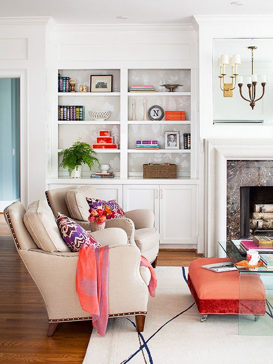 How to Get Organized  Fireplaces Ottomans and Bookshelf ideas