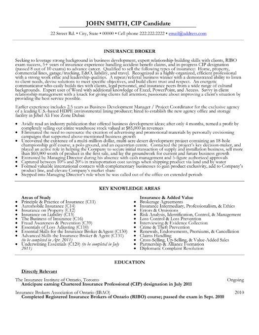 resume sample format for customs broker