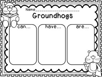 Groundhogs Graphic Organizer can-have-are Just print and