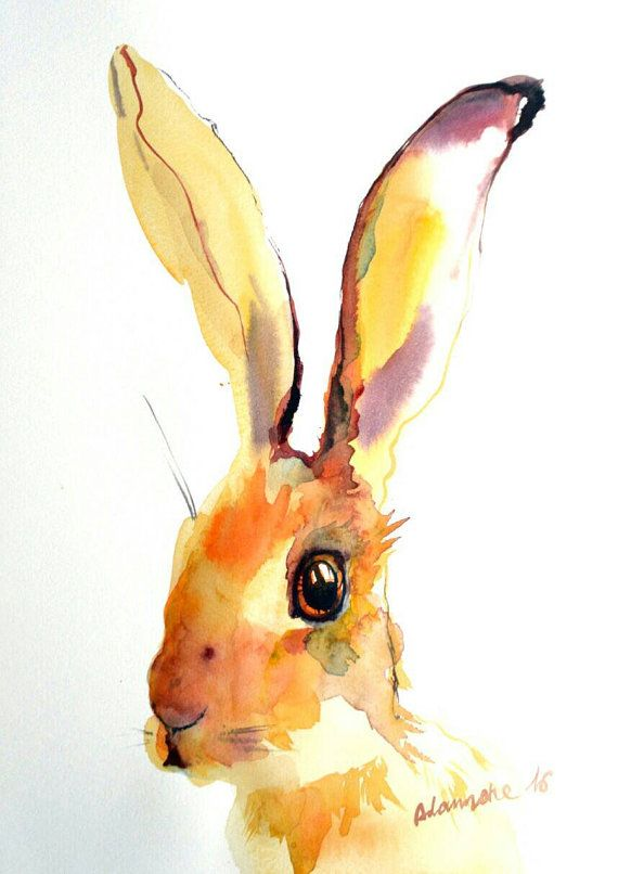Yellow Hare original watercolor painting Contemporary