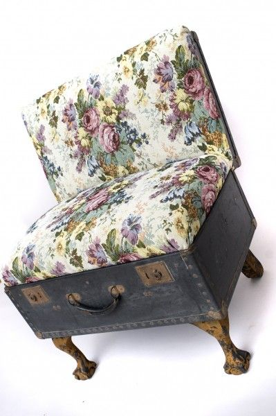 suitcase chair tapestry print 2 399×600 Suitcase chairs in furniture fabric art  with suitcase Repurposed Furniture Chair Bench