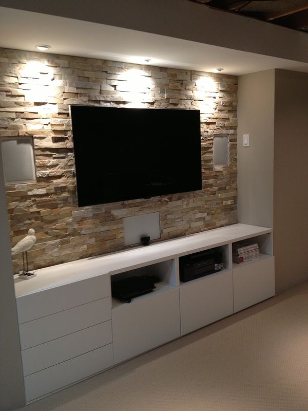 Agreeable Custom Wall Media Centers Mounted Full Murals Decals Basement Stone Entertainment Center With Ikea Cupboards