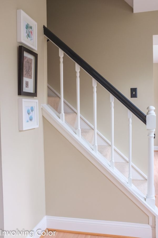 Black and White Painted Banisters  How to paint an oak stair railing black and white  Stair