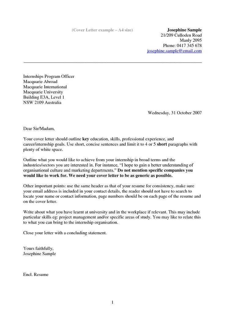 Cover Letter Resume Internship