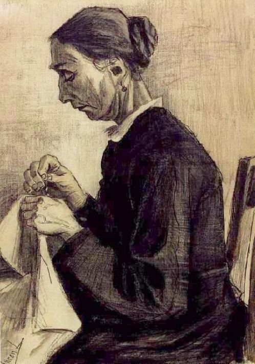 Sien, Sewing, Half-Figure, 1883 Vincent van Gogh: