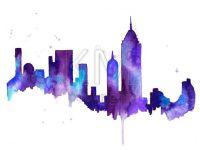Watercolor Painting Print, New York City Skyline - Blue ...