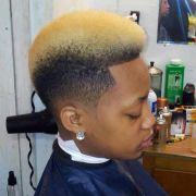 dyed frohawk black men haircuts