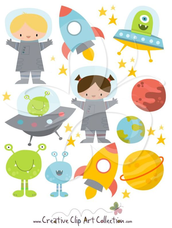 cute space clipart illustration