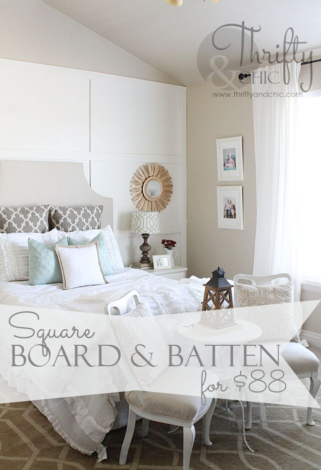 Square board and batten wall treatment Great idea to