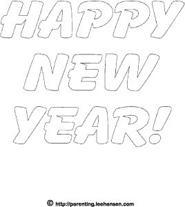 Printable happy new year bubble letters for coloring or