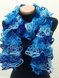 Lacy Ruffle Knit Scarf i crocheted with same yarn ...