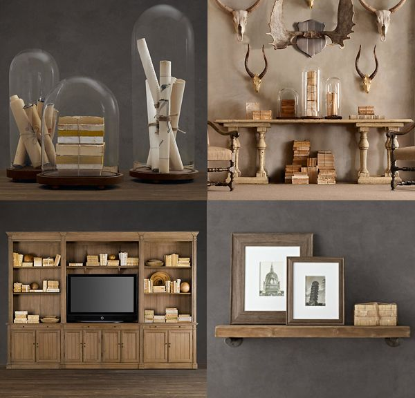 Beachy books done right in restorationhardware beige Those display domes are it all