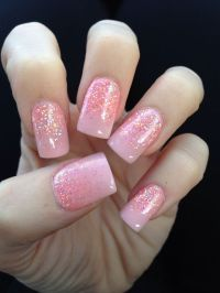 Pink solar nail with glitter fade design. Love my Nancy at