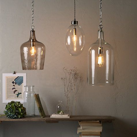hanging kitchen lights over island to go john lewis croft collection william bottle glass pendant ...