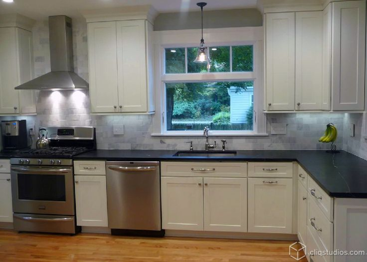 Dayton Painted White Mission Kitchen Cabinets from