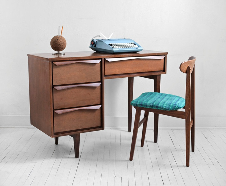 Mid Century Wood Office Desk Modern Eames Retro