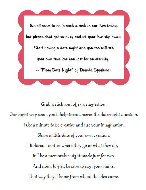 Bridal Shower Idea Place A Jar Amp This Poem On A Table