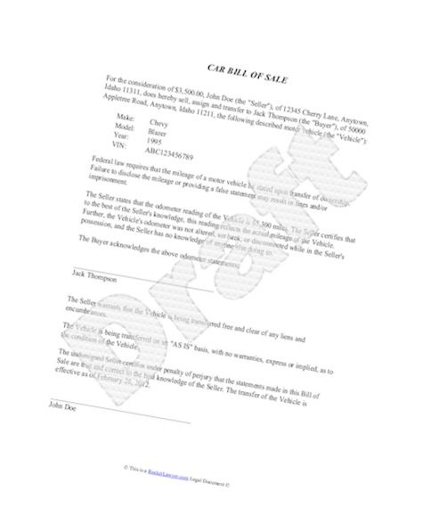 Example Of Bill Of Sale Template For Car Picture Of Bill
