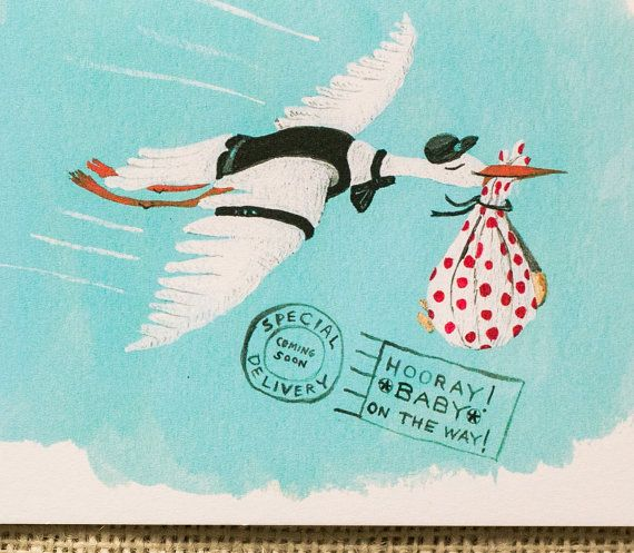 New Baby Card Baby Shower Card Baby On The Way Stork By