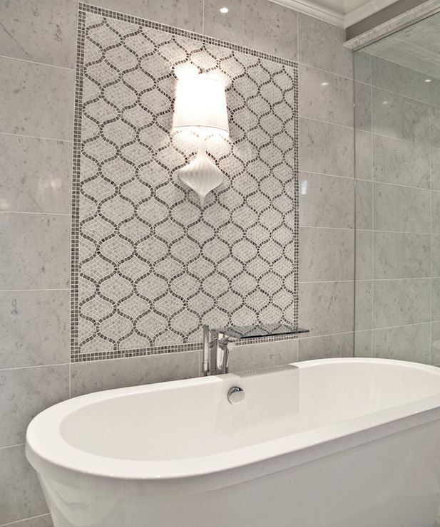 marble tile wall  gray arabesque accent tile  Master Bed