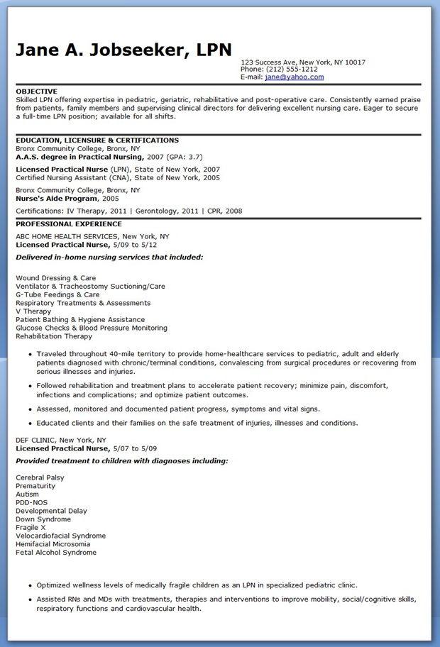 Sample LPN Resume Objective  Nursing Life  Pinterest