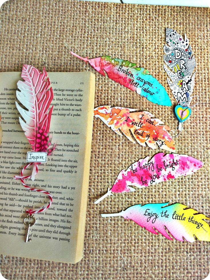 Feather Bookmark Ideas diy bookmarks Poemsromco
