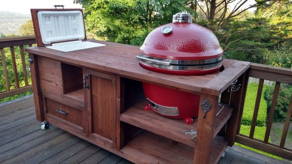 stainless steel kitchen island cart table target grill & chill big green egg / kamado joe primo ...