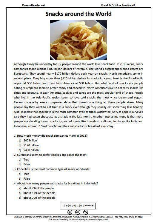 Free Esl Worksheet About Snacks Around The World