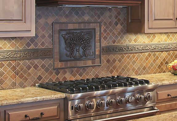 This Backsplash Features An Elon Metal Decorative Tile And