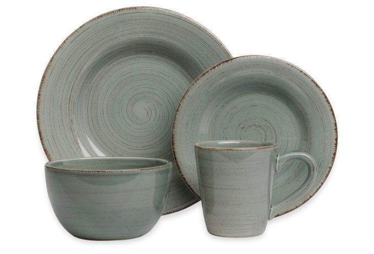 macy's kitchen sets pottery barn islands 16-pc rustic dinnerware set, slate blue | house ...