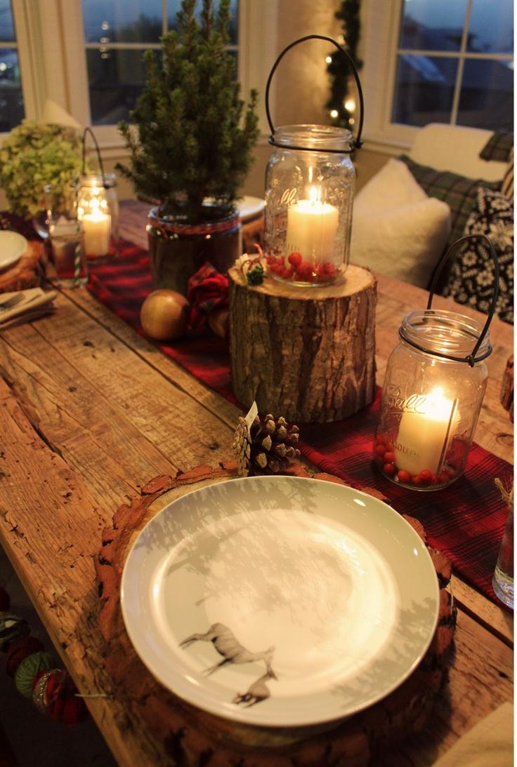 christmas cabin party theme decor rustic table
