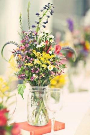 Fun Light Wildflower Centerpieces Wedding Flowers