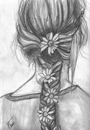 drawings of girls with braids