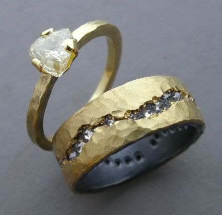 #RO55, 18k gold, uncut diamond/18k gold silver, diamonds by Todd Pownell