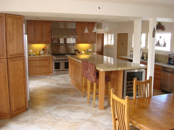 tiled floors with light oak cabinets  solid oak cabinets