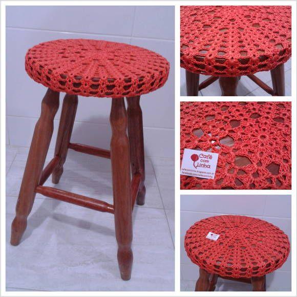 kitchen stools target small bar capa para banqueta ou banco em crochê   madeira and ems