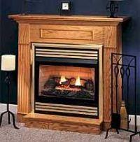 Oak vent free gas fireplace Mantel | Monessen's DFX32 ...