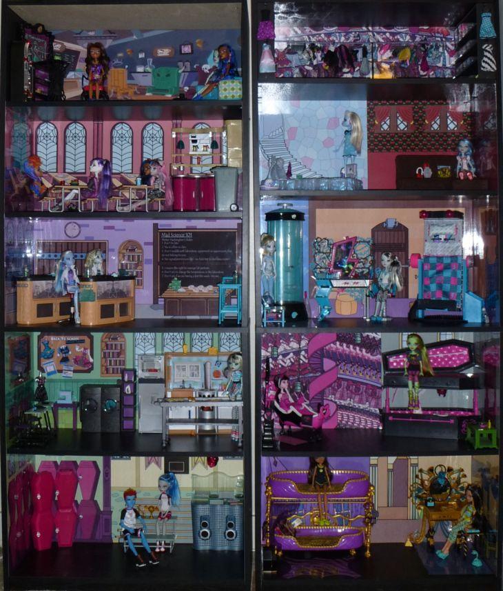 monster high doll house  Monster High Dead Tired Bedroom Bookcase Kit w Abbeys Room Doll House