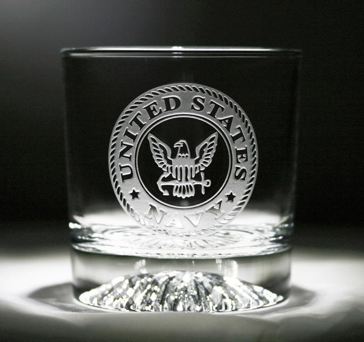 Engraved Navy Whiskey Scotch Bourbon Glasses United