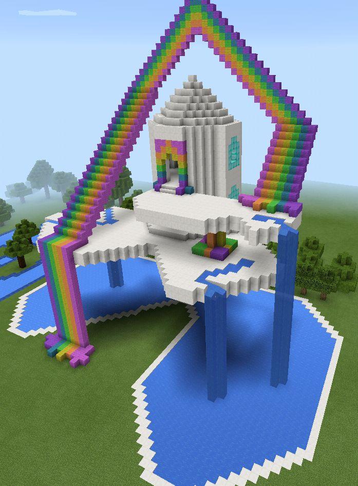 Minecraft Rainbow Sky Waterfall House  Minecraft Creations  Pinterest  Beautiful Follow me